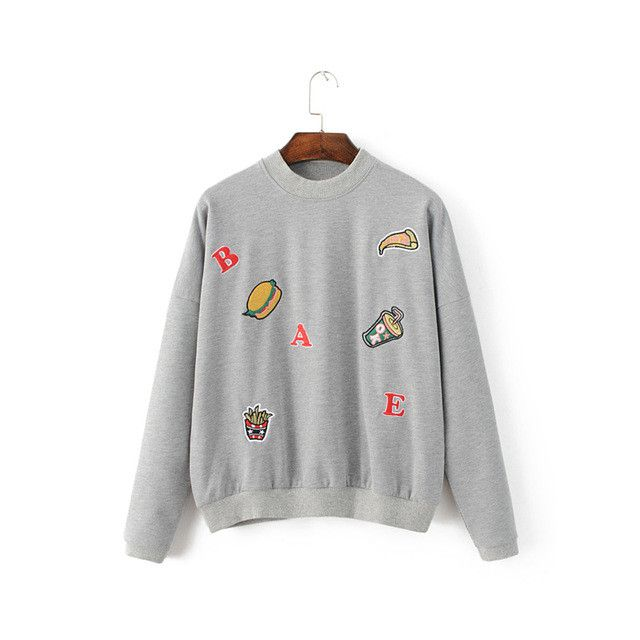 Women cute hamburger pizza embroidery loose pullovers letter long sleeve knitted casual sweatshirt streetwear tops