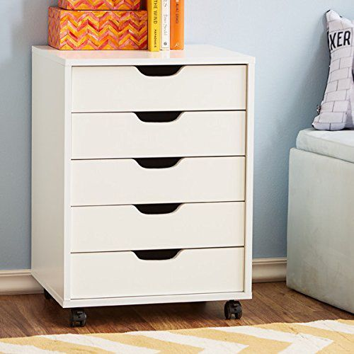Office Furniture File Cabinet Home White 5 Drawers Wheels Modern Wood Vertical Organizer Filing Cabinet Drawer Filing Cabinet Cabinet