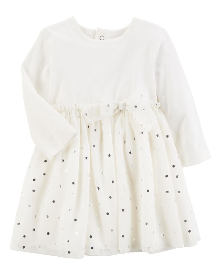 With back snaps for easy dressing, polka dots and bow detail, this long-sleeve jersey dress is perfect for parties and holidays.