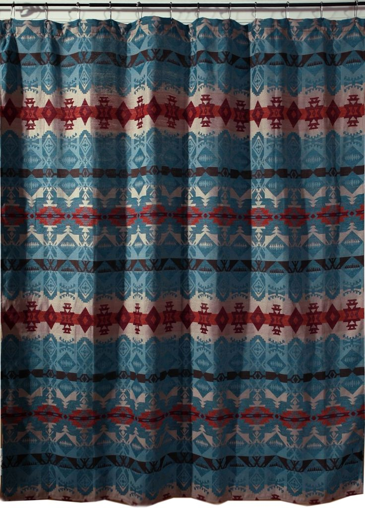 Turquoise Chamarro Southwest Fabric Shower Curtain Jb2085 The Turquoise Chamarro Shower