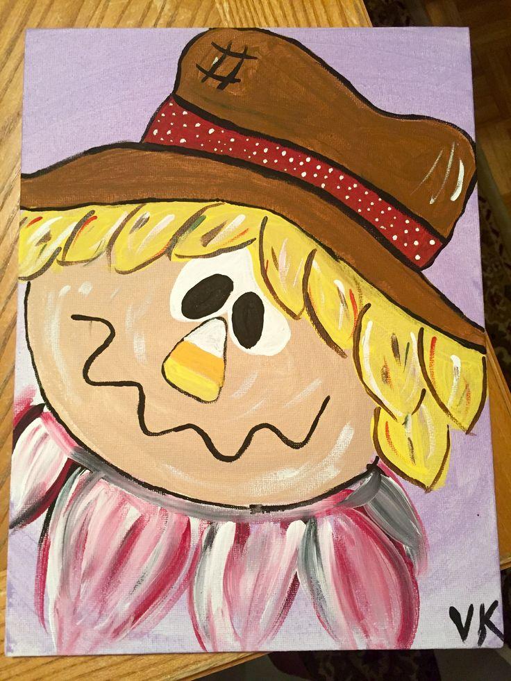 "$20 scarecrow fall autumn candy corn original acrylic painting 9x12"" panel canvas"