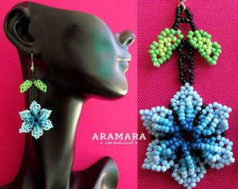 Mexicana Huichol cuentas flor pendientes AF-0130 por Aramara