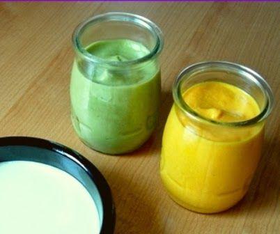 Mayonesa sin huevo o veganesa   1/4 taza de leche vegetal sin azúcar  1/2 taza de aceite  1/4 cdta de sal  pizca de cúrcuma o color...