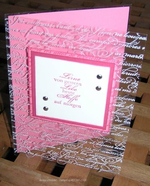 handmade card ... clear acetate front stamped in white sentiments in script handwriting  .... square panel for sentiment ... good use of acetate ...