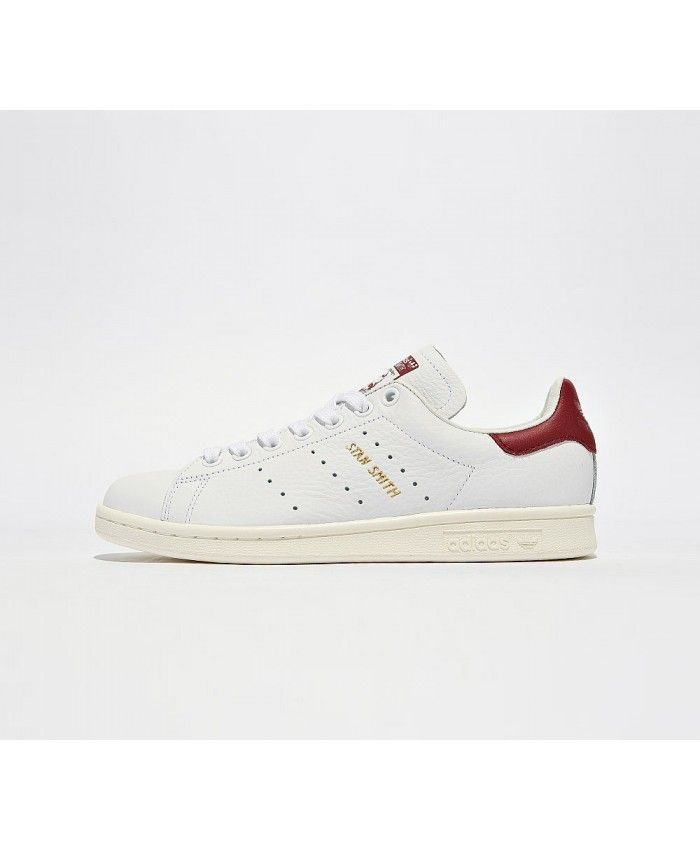 wholesale dealer bb90b eabef Adidas Stan Smith Gold Trainers In White Burgundy