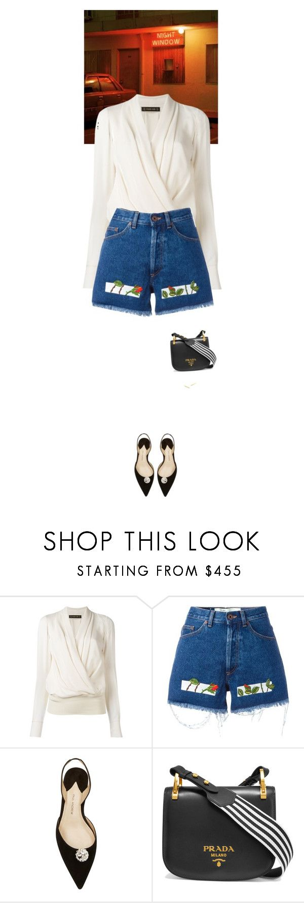 """""""Outfit of the Day"""" by wizmurphy ❤ liked on Polyvore featuring Plein Sud, Off-White, Paul Andrew, Prada, Gorjana, ootd, jeanshorts and denimshorts"""