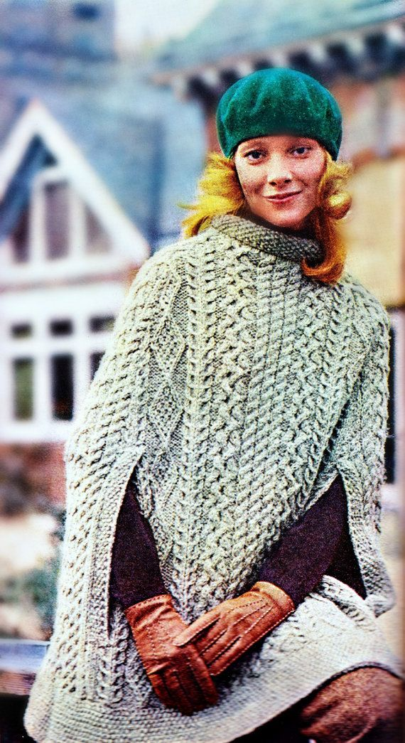 Knitting Pattern for Cape Sweater, Poncho, Shawl in Aran Irish Fisherman Patt...