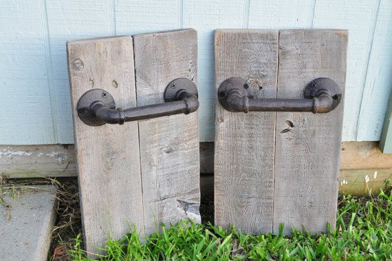 Rustic wood hand towel holder for bathroom; set of 2 -Rustic bathroom decor -Made from reclaimed wood & iron pipe towel holder -Dimensions: ~13 1/2 L x 8 W