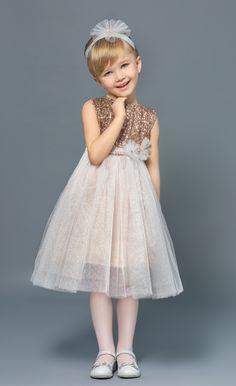 Нарядное новогоднее детское платье для девочки с пайетками золотистое,