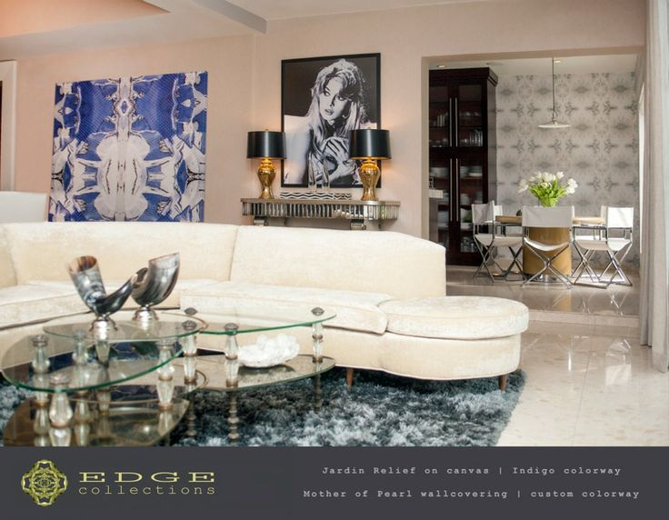 Jardin Relief Canvas As Well As Mother Of Pearl Wallcovering By EDGE  Collections Featured In A Private Residence In Miami,FL. Interior Designed  By Kakar ...