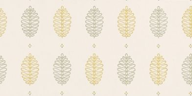 Cones Lush (0271CNLUSHZ) - Little Greene Wallpapers - A simple stylised fir cone motif inspired by a 1956 original, set in a formal geometric pattern. Shown  with light and dark soft green motifs on a soft off white background.  Available in other colours. Please request sample for true colour match.