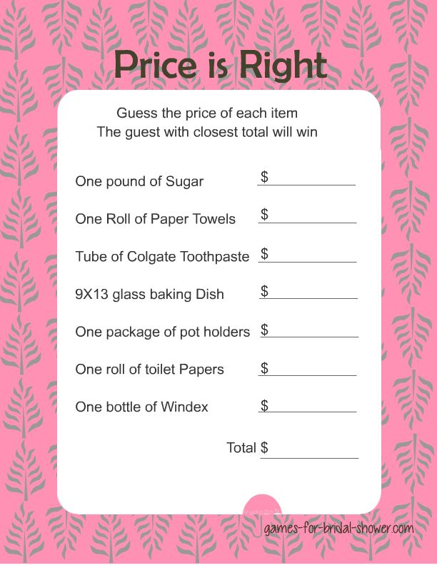 bridal shower games free to print | free printable price is right game for bridal shower in pink color
