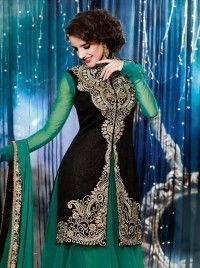 Blackand Sea Green Velvet Resham Work Salwar kameez,Anarkali suits,Designer salwar kameez DE-4802