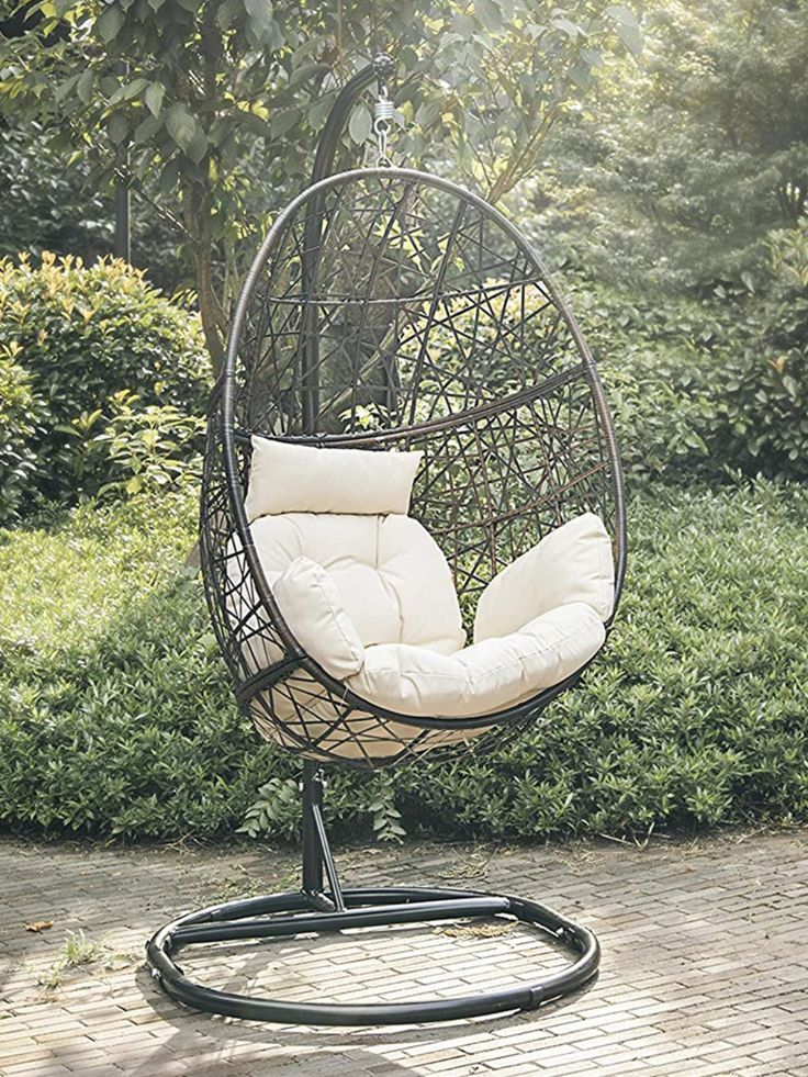Hanging wicker egg chair with stand white beige in 2020