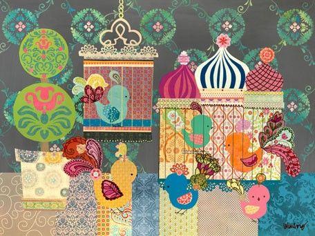 Russian Birdies modern wall decor by The Winborg Sisters $119Russian Birdie, Russian Artworks, Oopsies Daisies, Canvas Art, Canvas Wall Art, Art Prints, Birdie Canvas, Birdie Frames, Birds Canvas