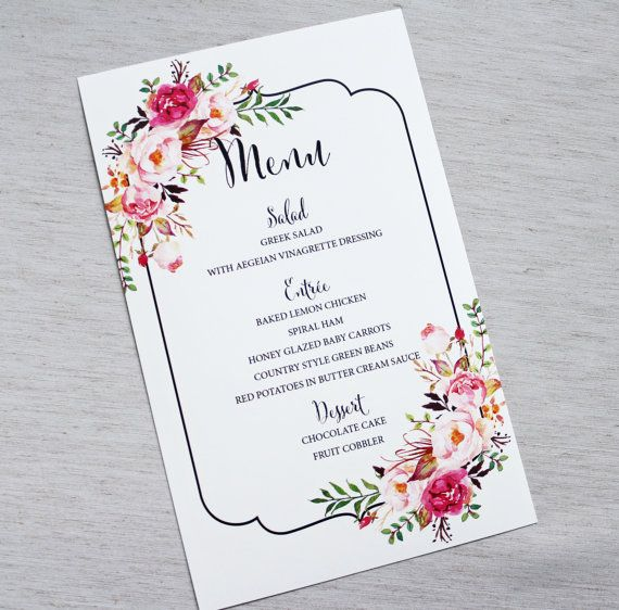 Rustic Menu Card Watercolor Floral Menu Card by LoveofCreating
