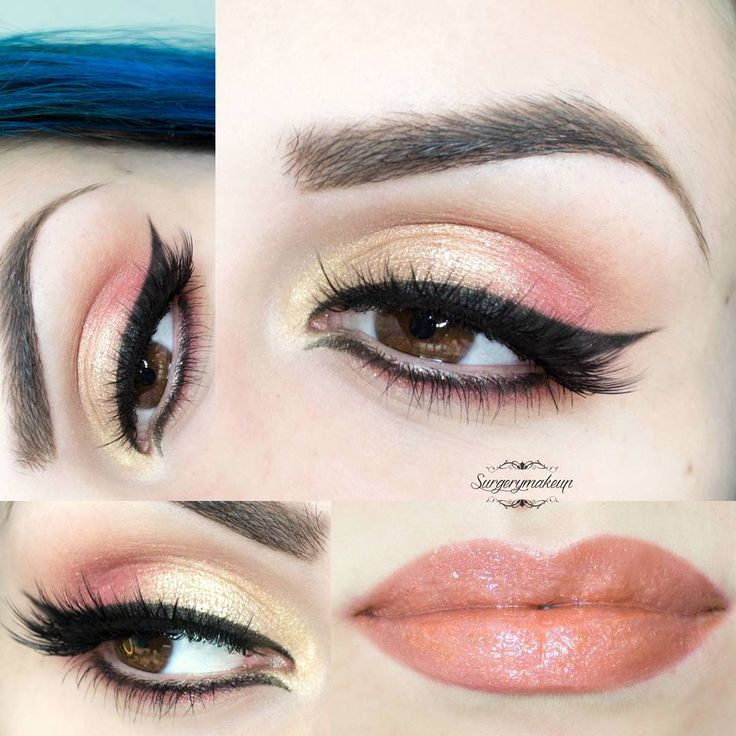 Fresh peachy look with gold and peach eyeshadows and black eyeliner, paired with peach glossed lips.