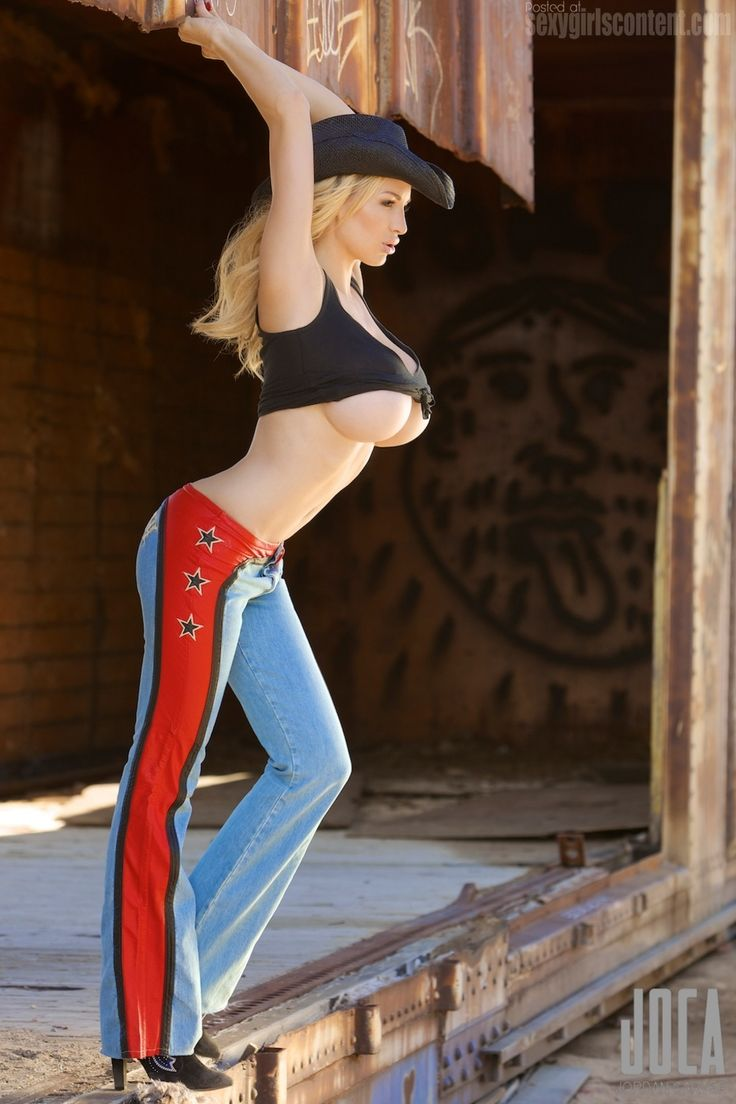 46 Busty Blonde Jordan Carver Hot Cowgirl Underboob Tight -9086