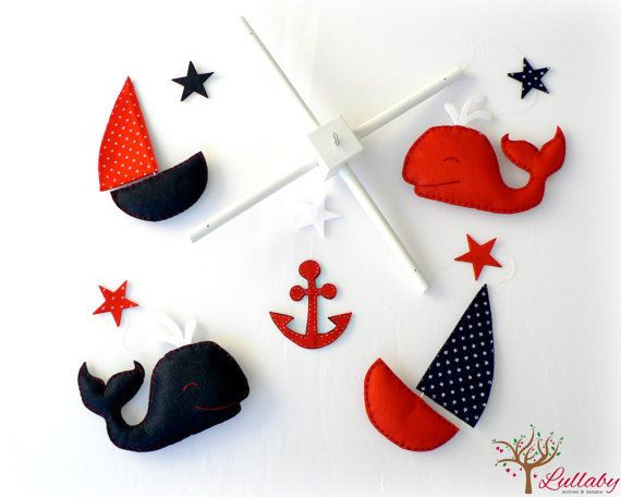 Nautical mobile - Felt whales, sail boats, stars and anchor - You pick your colors - navy blue, red and white - Nursery decor