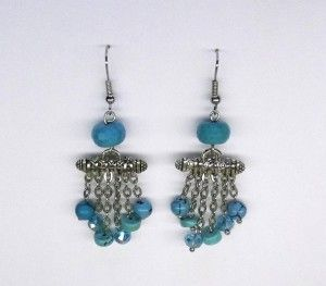 Turquoise Coloured Howlite Chandelier Earrings