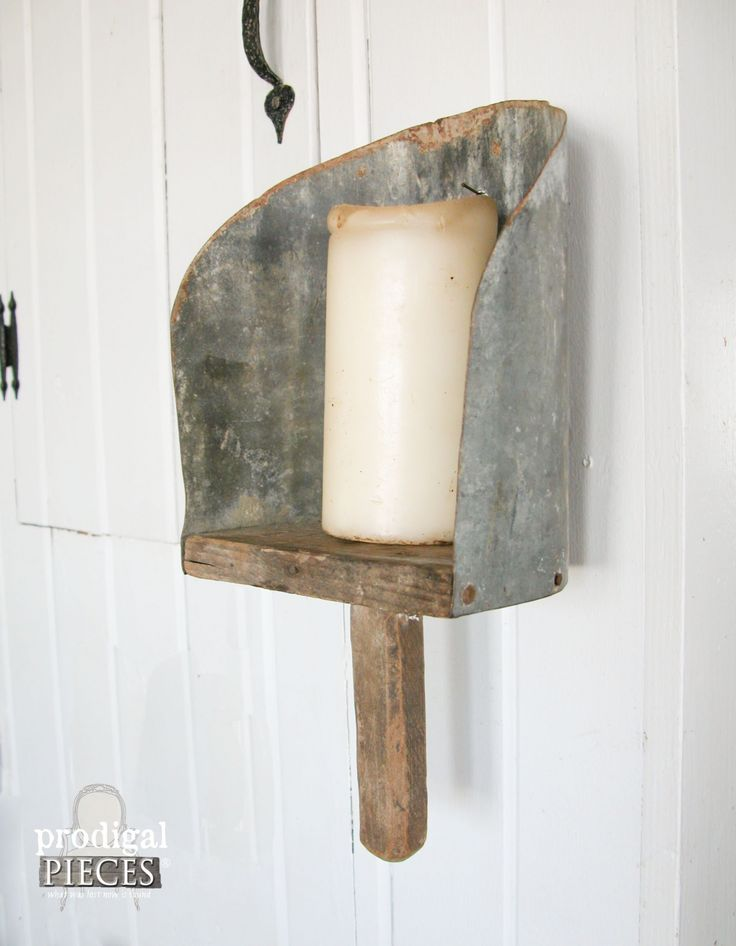 Side view of Repurposed Farmhouse Feed Scoop Candle Sconce by Prodigal Pieces   www.prodigalpieces.com