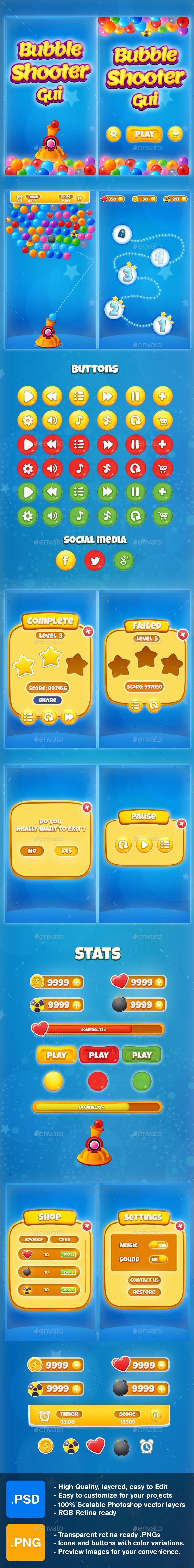 Magical Bubble Shooter Full Game Graphics Kit (Game Kits)