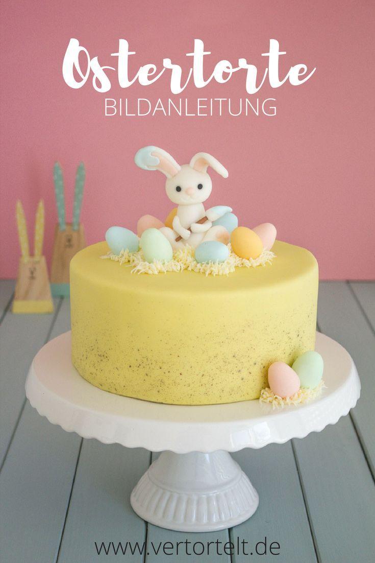 Osterkuchen Mit Einem Osterhasen Als Caketopper Und Bunten Ostereiern Ostertorte Osterkuchen Ostern Kuchen