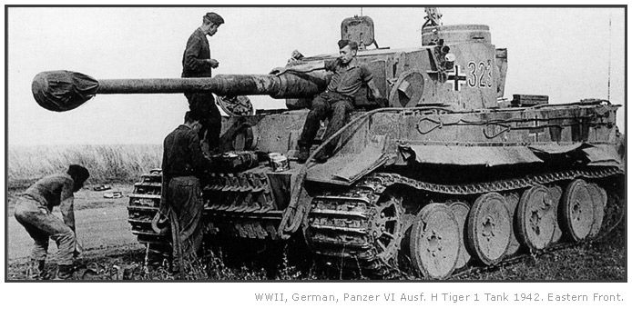 WWII German Tiger tank -- 1942 Eastern Front.