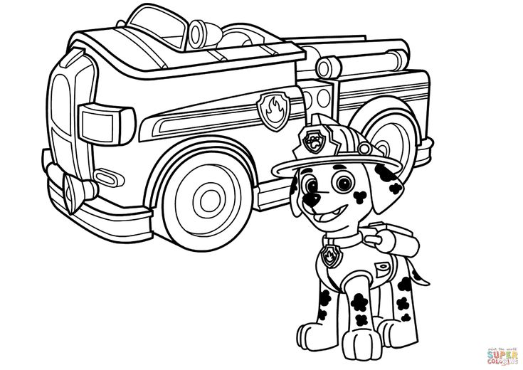 Paw Patrol Marshall With Fire Truck Coloring Page Free