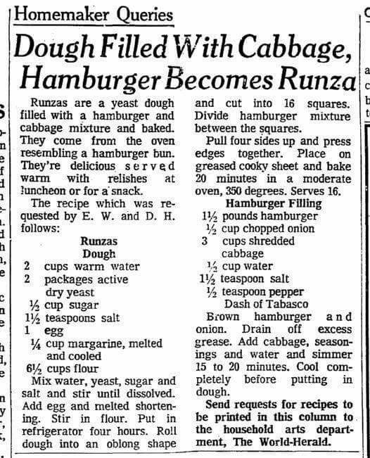 Runza - hamburger cabbage filled rolls.