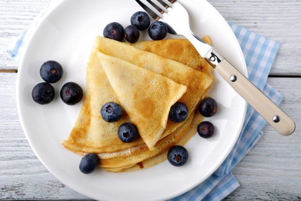 Pancakes with fresh berries. Top view