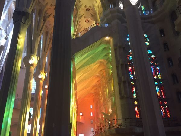 The afternoon sun hitting the stained glass windows of La Sagrada Família, Barcelona