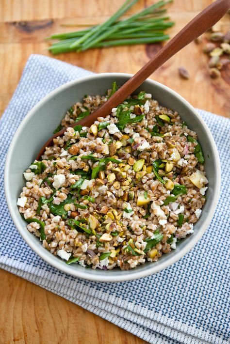 Farro Salad with Arugula, Lemon, Feta and Pistachio | A Sweet Spoonful