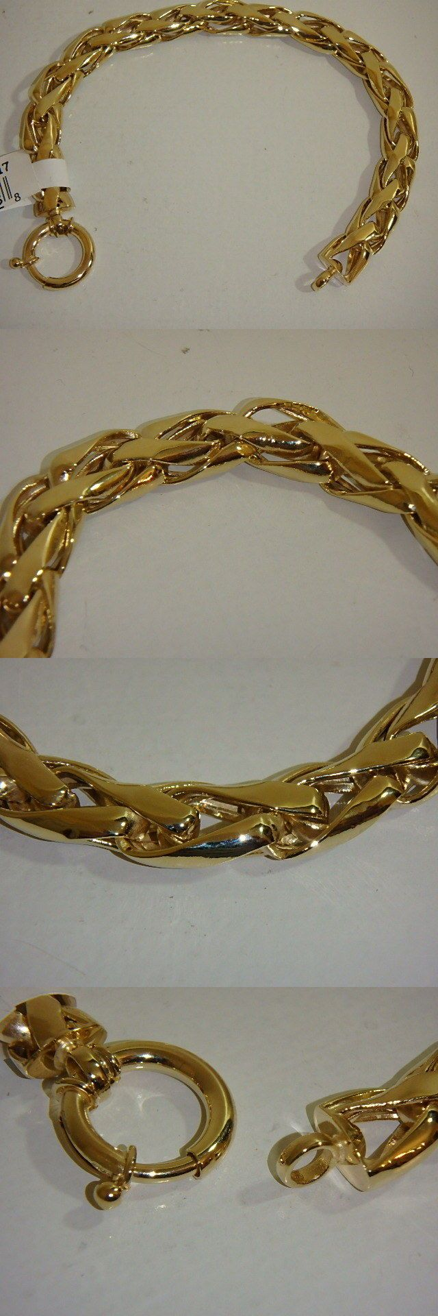 Precious Metal without Stones 164313: 14K Yellow Gold Polished Woven Wheat Bracelet New 9.5 Grams 7 1 4 Inch Qvc -> BUY IT NOW ONLY: $263.49 on eBay!