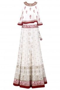 Cream and Red Lucknowi Baluchari Lehenga with Crop Top #sumona #shopnow #elegant #ppus #happyshopping