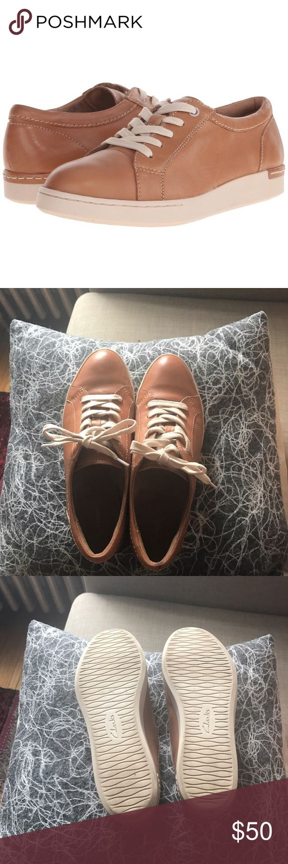 Clarks artisan 100% leather sneakers Super comfy, classic cognac brown leather sneakers. These don't get as much attention as they should in my collection, so they need to go to a new home! Like new. Clarks Shoes Sneakers