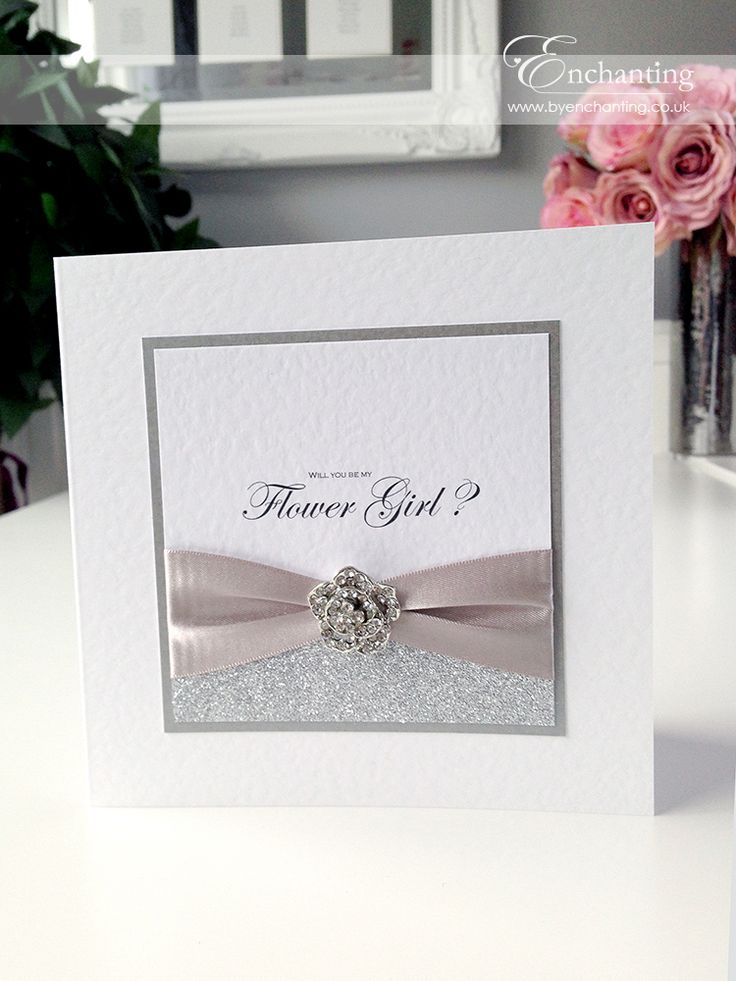 handmade wedding cards ireland%0A The Cinderella Collection  Flower Girl Proposal Card   Featuring silver  glitter paper  silver grey  Handmade Wedding