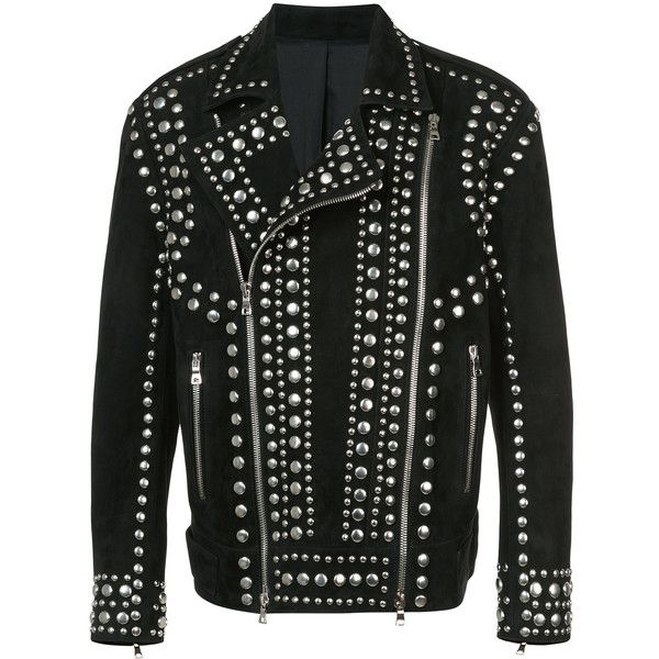 Balmain Studded Suede Biker Jacket ($6,255) ❤ liked on Polyvore featuring men's fashion, men's clothing, men's outerwear, men's jackets, black, mens suede biker jacket, mens suede jacket, mens military jacket, mens suede moto jacket and mens suede leather jacket