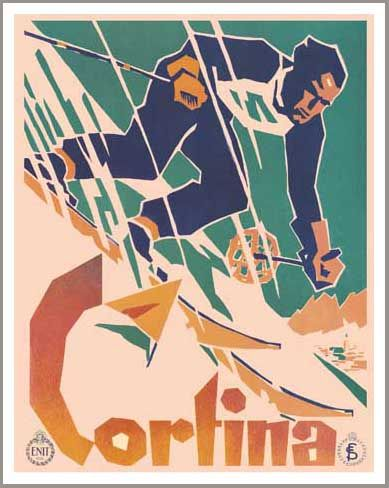 Cortina Vintage Art Deco Ski Lodge Poster. Cortina d'Ampezzo is a town and commune in the southern (Dolomitic) Alps located in Veneto, a region in Northern Italy. Located in the heart of the Dolomites in an alpine valley, it is a popular winter sport resort known for its ski-ranges, scenery, accommodations, shops and après-ski scene. After the scheduled 1944 Olympics had been cancelled because of WWII, it hosted the 1956 Winter Olympics as well as various world cup events and motion…