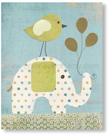Baby decor nursery, kids art, baby nursery, kids room decor, boy room, kids elephant, Bird Balloons, A Special Day 8x10 print from Paris. $14.00, via Etsy.