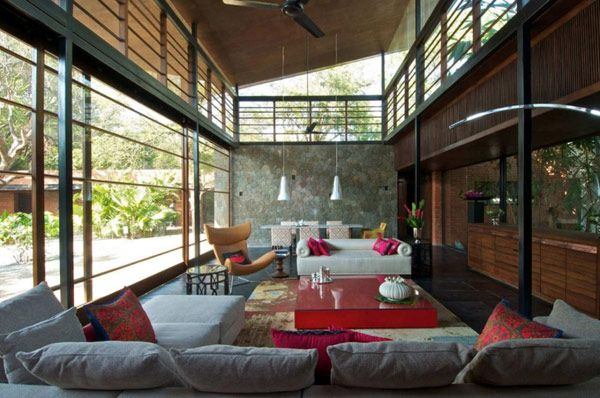 Architecture, Chandelier White Sofa Pillow Red Glass Table Fan Railings Wooden Ceiling Roof Wall Decor House Architects Cottage Decorating Plans Homes Architecture Interior Designs: Outstanding, Modern Country Home Near Bombay: Brick Kiln House