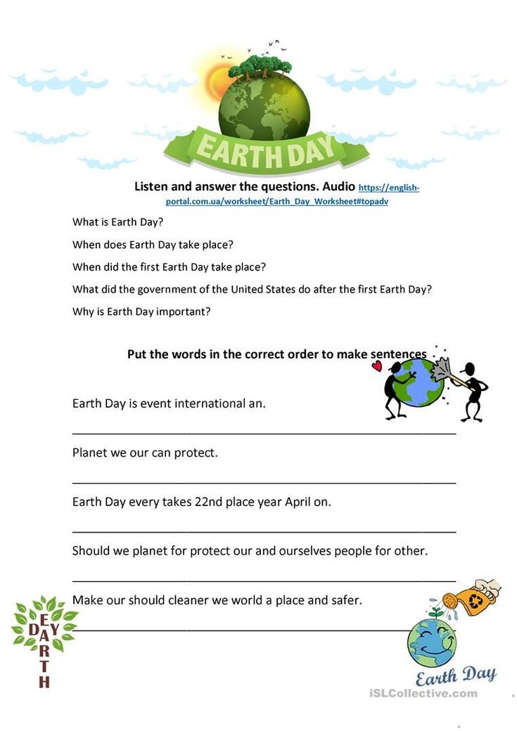 Earth Day Math Worksheets Earth Day Listening and Speaking ...