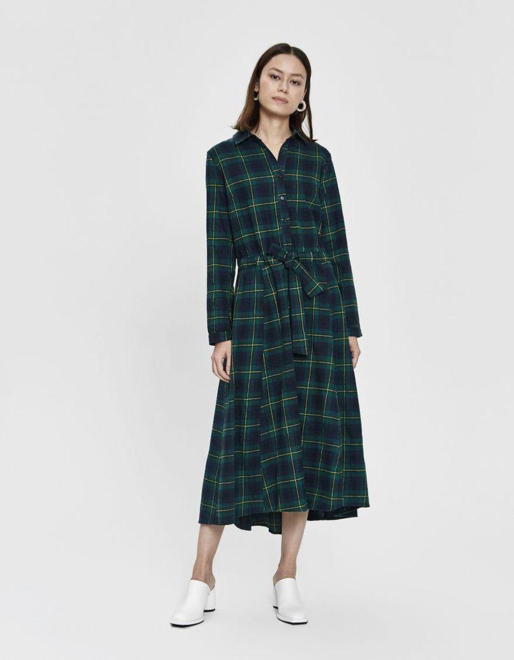 stelen    jay flannel dress in green