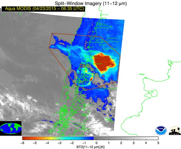 How do satellites map volcanic ash clouds?