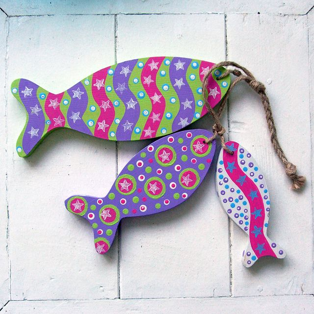 Wooden Painted Fish by Half an Acre by The Bunny Maker, via Flickr
