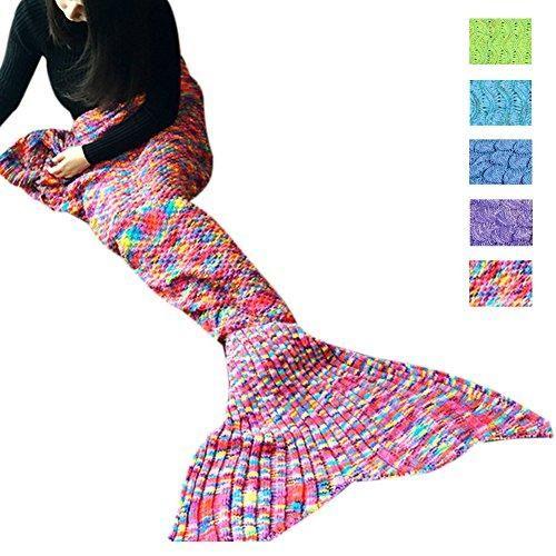 Awkli Warm Mermaid Tail Sofa Blanket Crochet Super Soft Comfortable Suitable for All Seasons