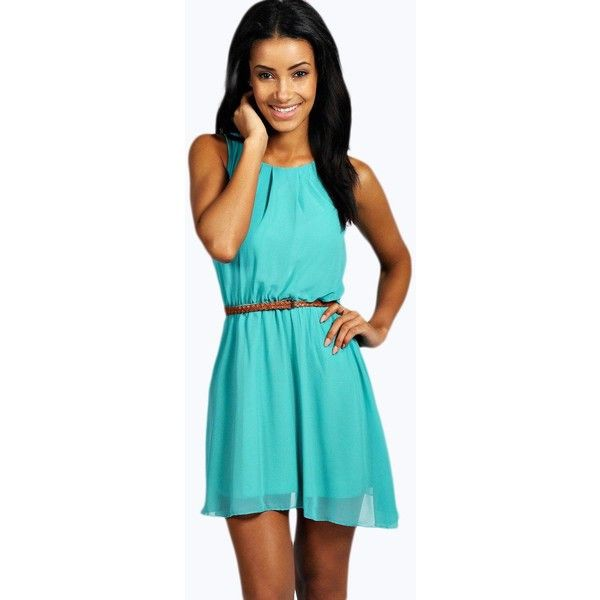 Boohoo Frankie Sleeveless Chiffon Belted Skater Dress (1,605 INR) ❤ liked on Polyvore featuring dresses, blue skater dress, blue bodycon dress, chiffon evening dresses, layering cami and body con dresses