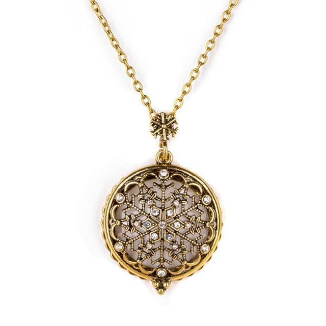VIP - Snow flake Pendant Necklace/ Magnifying Glass with Bronze Chain