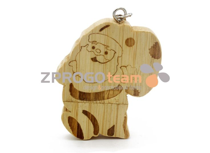NEW: Promotional wooden USB flash drive design Santa Claus.