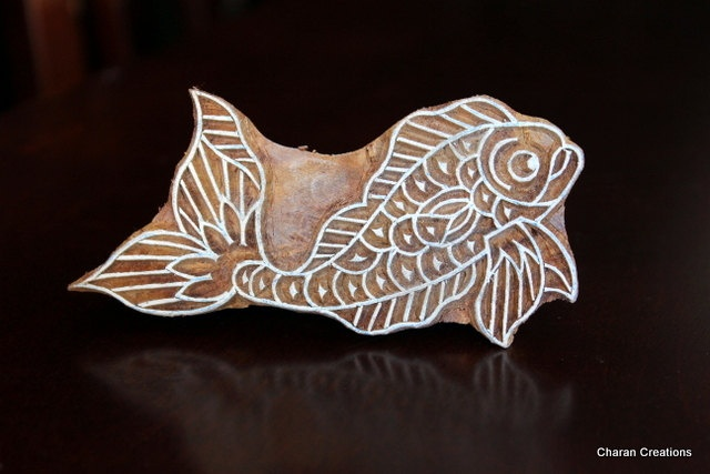 Hand Carved Indian Wood Textile Stamp Block- Koi Fish. $16.00, via Etsy.